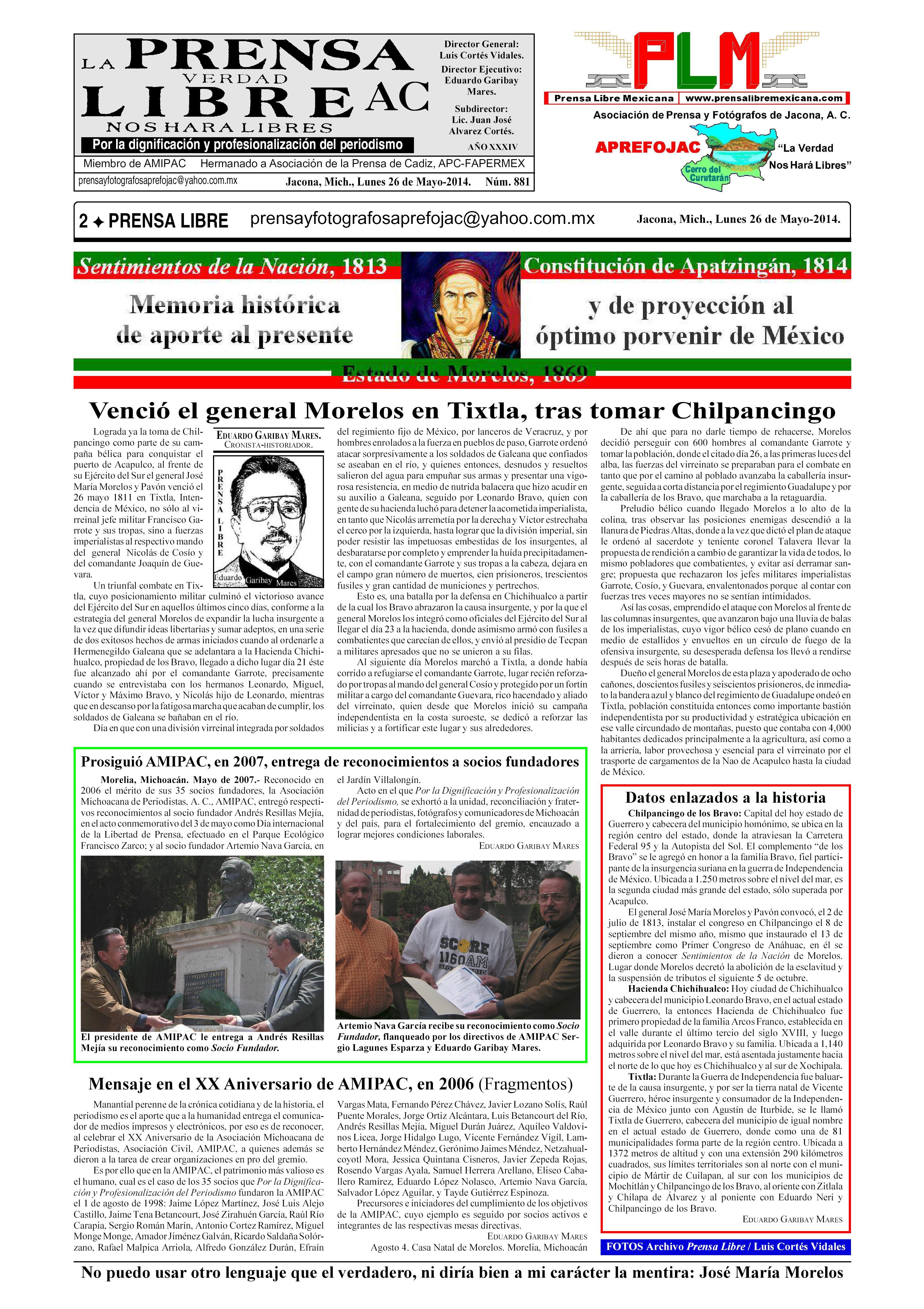 B5b zPrensaLibreNo.881 Pagina2 APREFOJAC