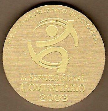 Reconocimiento Nacional al Servicio Social Comunitario 2003. Reverso