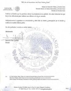 SEGOB Secretaría de Gobernación. Asunto: Festejo del Grito de Independencia. Consideraciones y respuesta a Eduardo Garibay Mares
