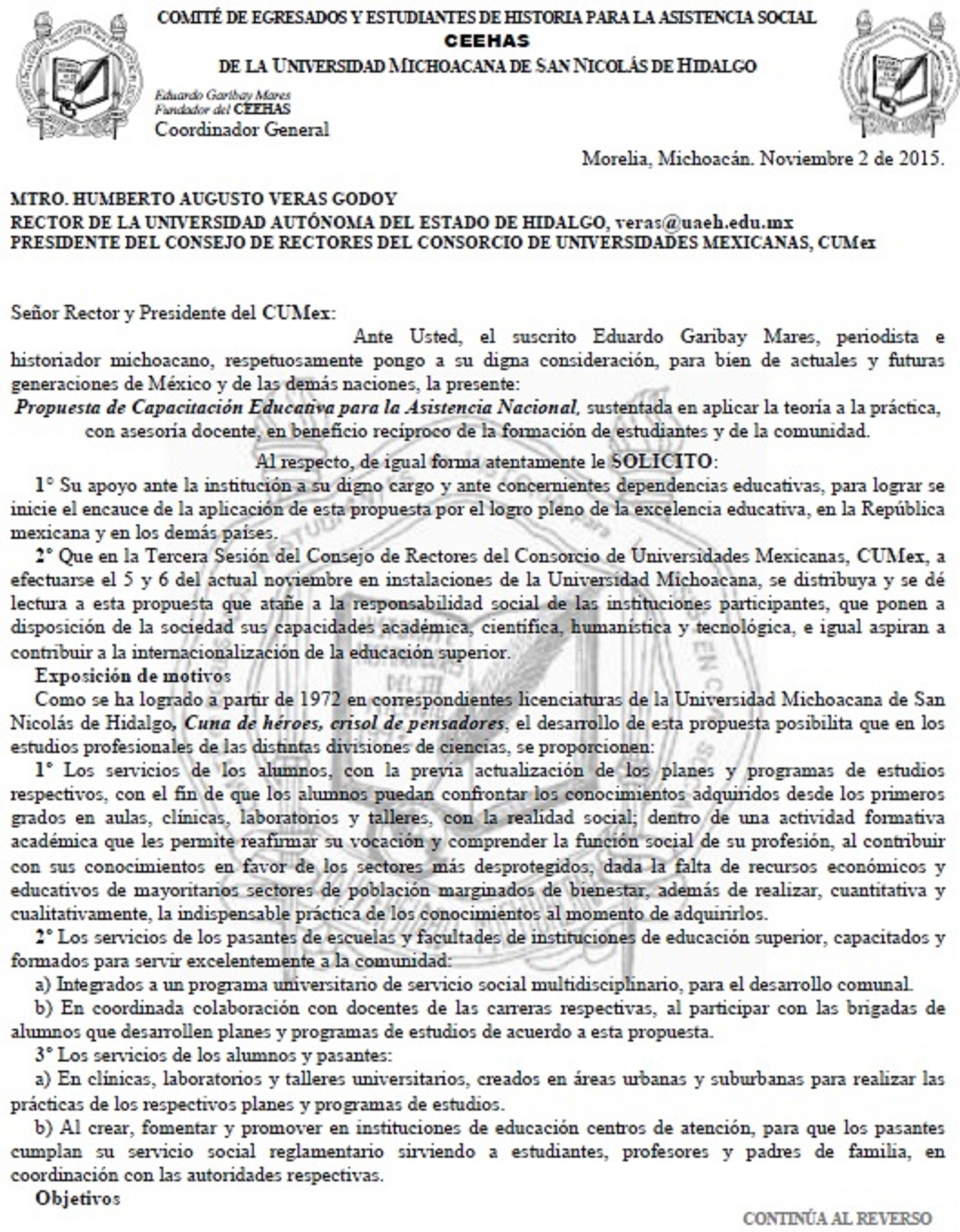 Enviada al Consorcio de Universidades Mexicanas, CUMex, la Propuesta de Capacitación Educativa para la Asistencia Nacional. Eduardo Garibay Mares