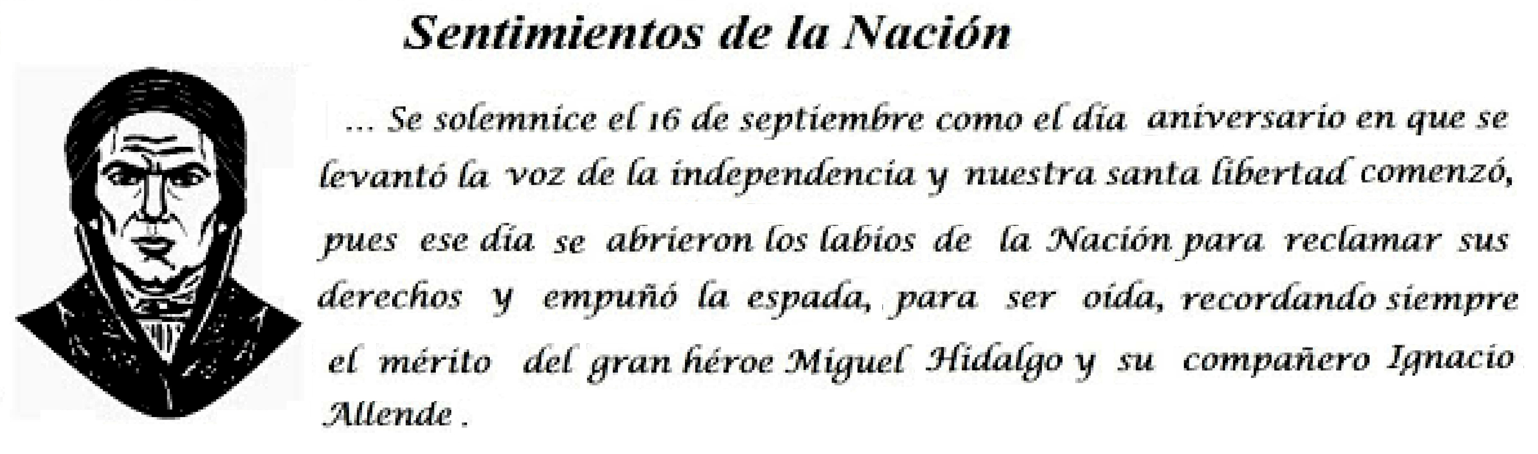 16 de septiembre. Sentimientos de la Nacion. Morelos. Mych