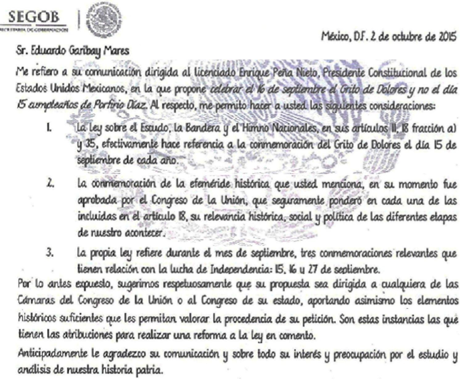Consideraciones de SEGOB a Propuesta nacional para celebrar el 16 de septiembre el Grito de Dolores, presentada ante el Presidente de México Enrique Peña Nieto