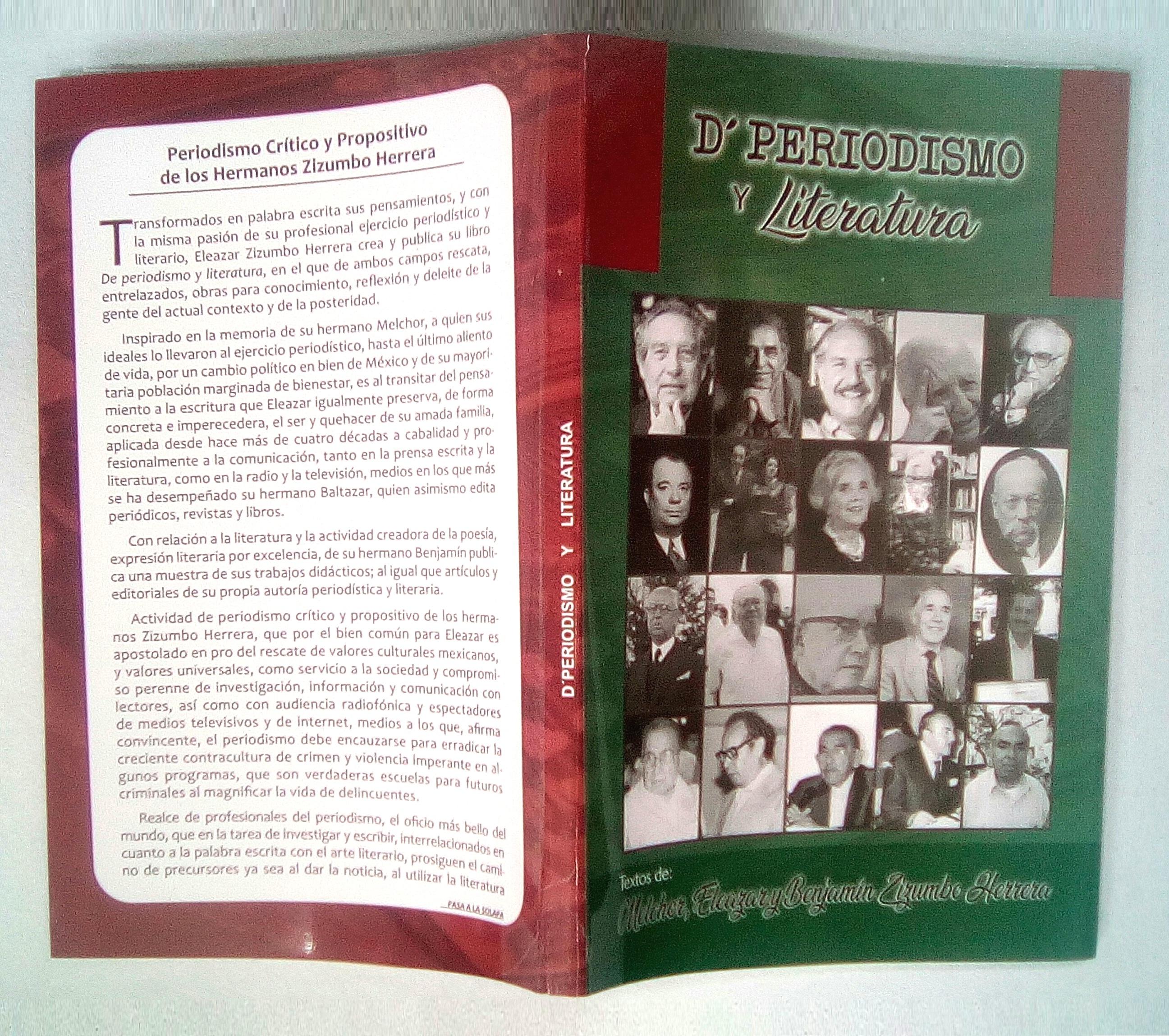 De periodismo y literatua. Eleazar Zizumbo Herrera. Portada-Contraportada