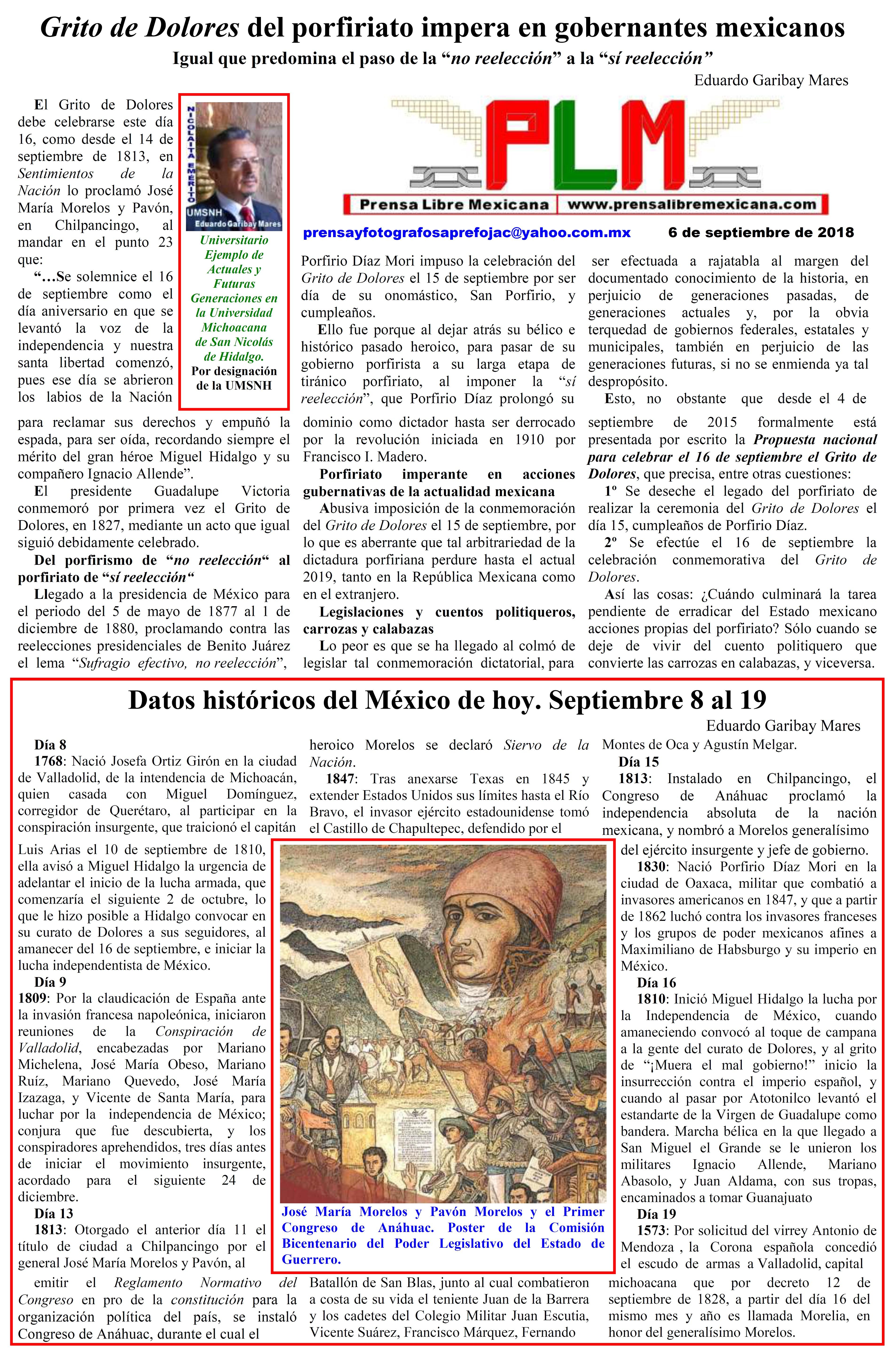 Grito de Dolores del porfiriato impera en gobernantes mexicanos. Eduardo Garibay Mares