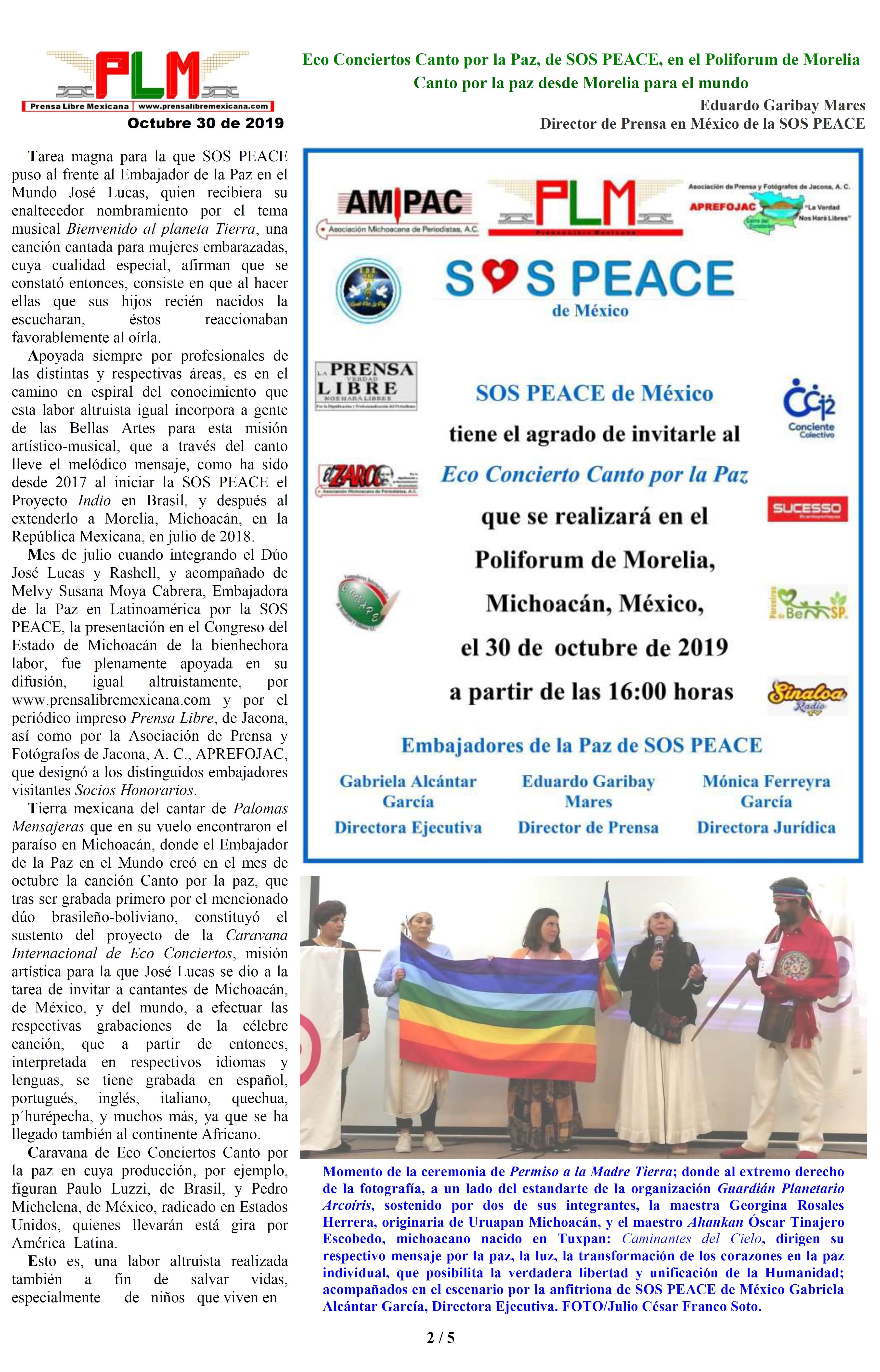 Eco Conciertos Canto por la Paz, de SOS PEACE, en el Poliforum de Morelia. Eduardo Garibay Mares. PAGINA 2