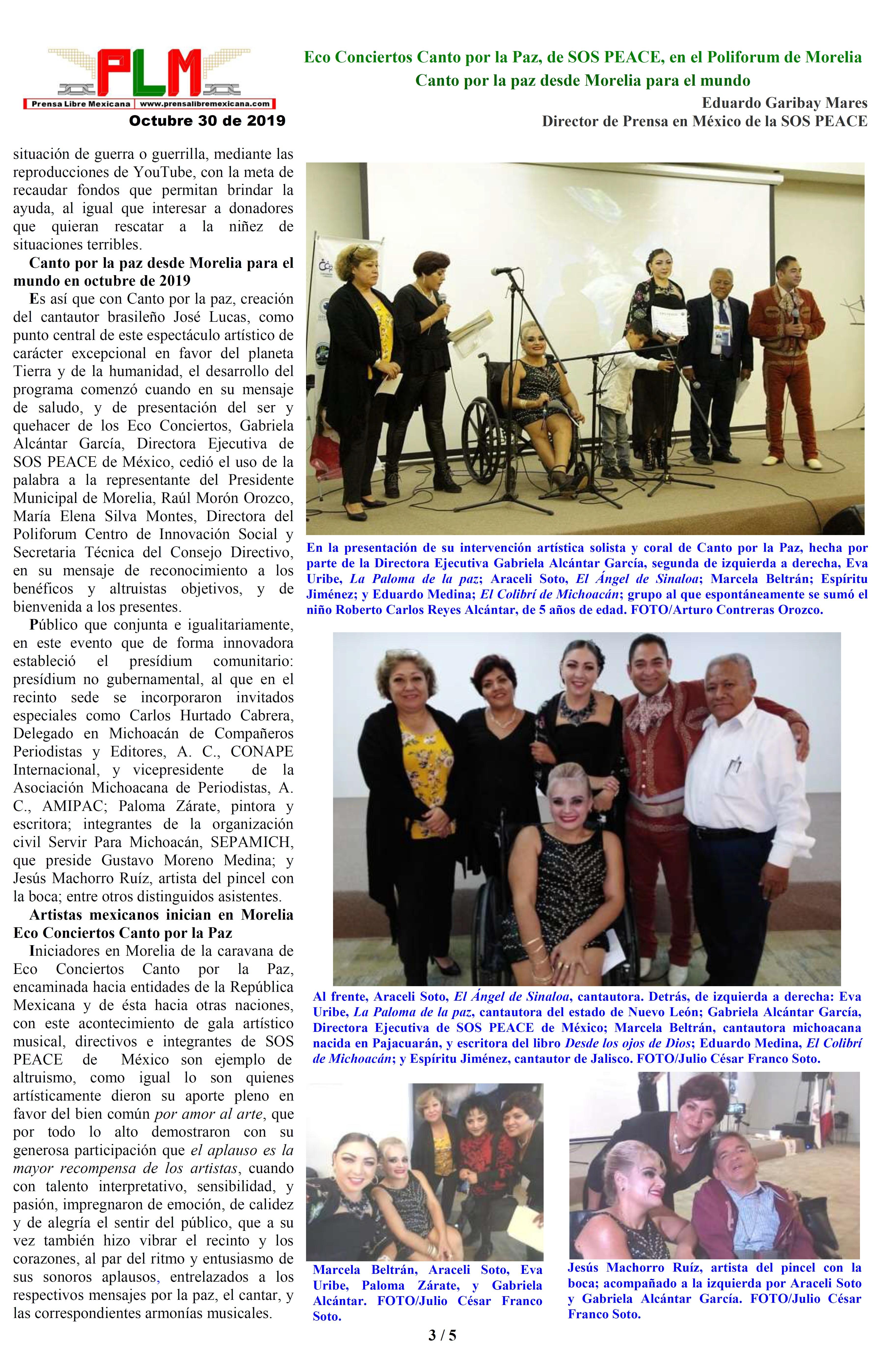 Eco Conciertos Canto por la Paz, de SOS PEACE, en el Poliforum de Morelia. Eduardo Garibay Mares. PAGINA 3