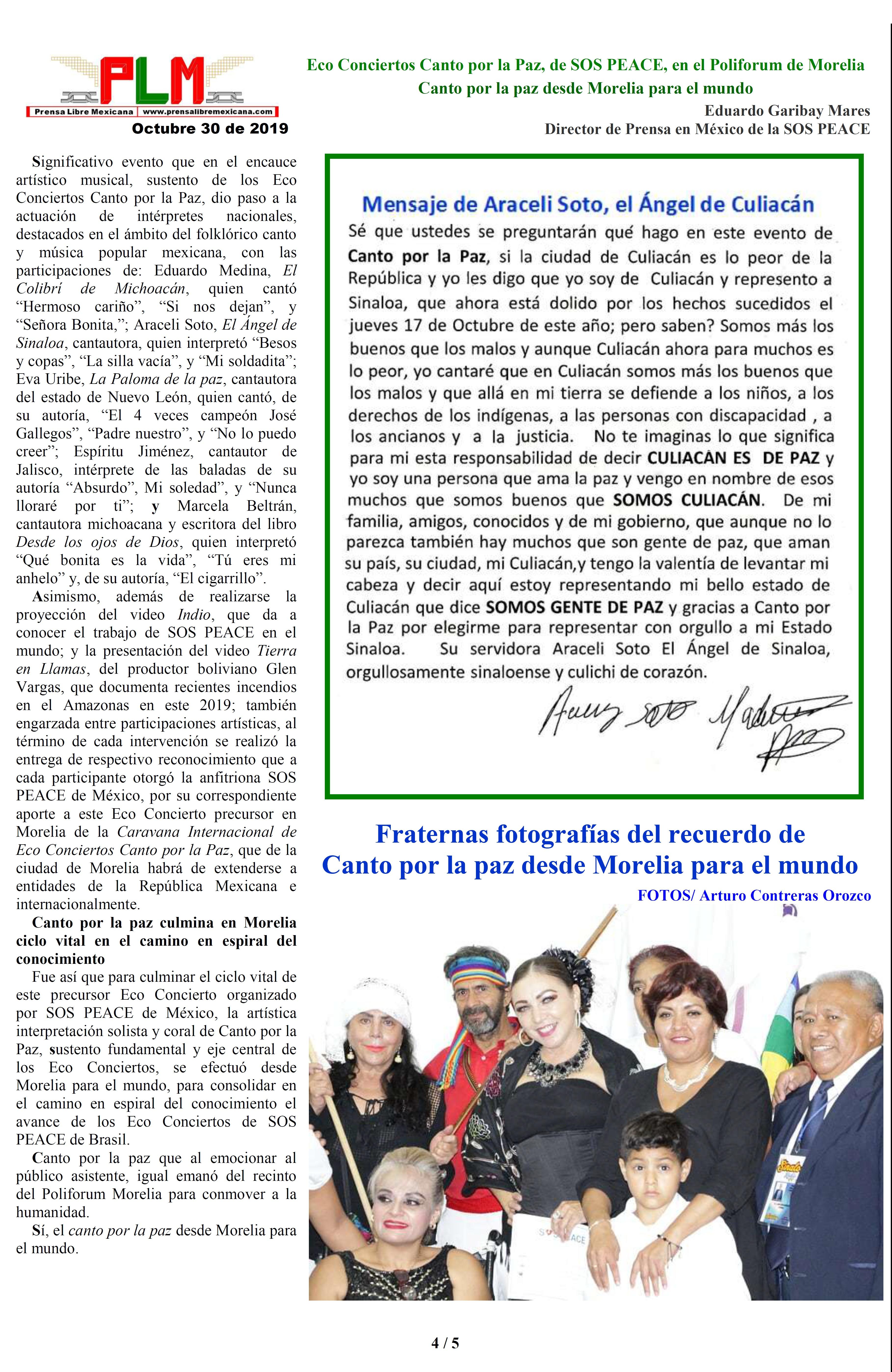 Eco Conciertos Canto por la Paz, de SOS PEACE, en el Poliforum de Morelia. Eduardo Garibay Mares. PAGINA 4