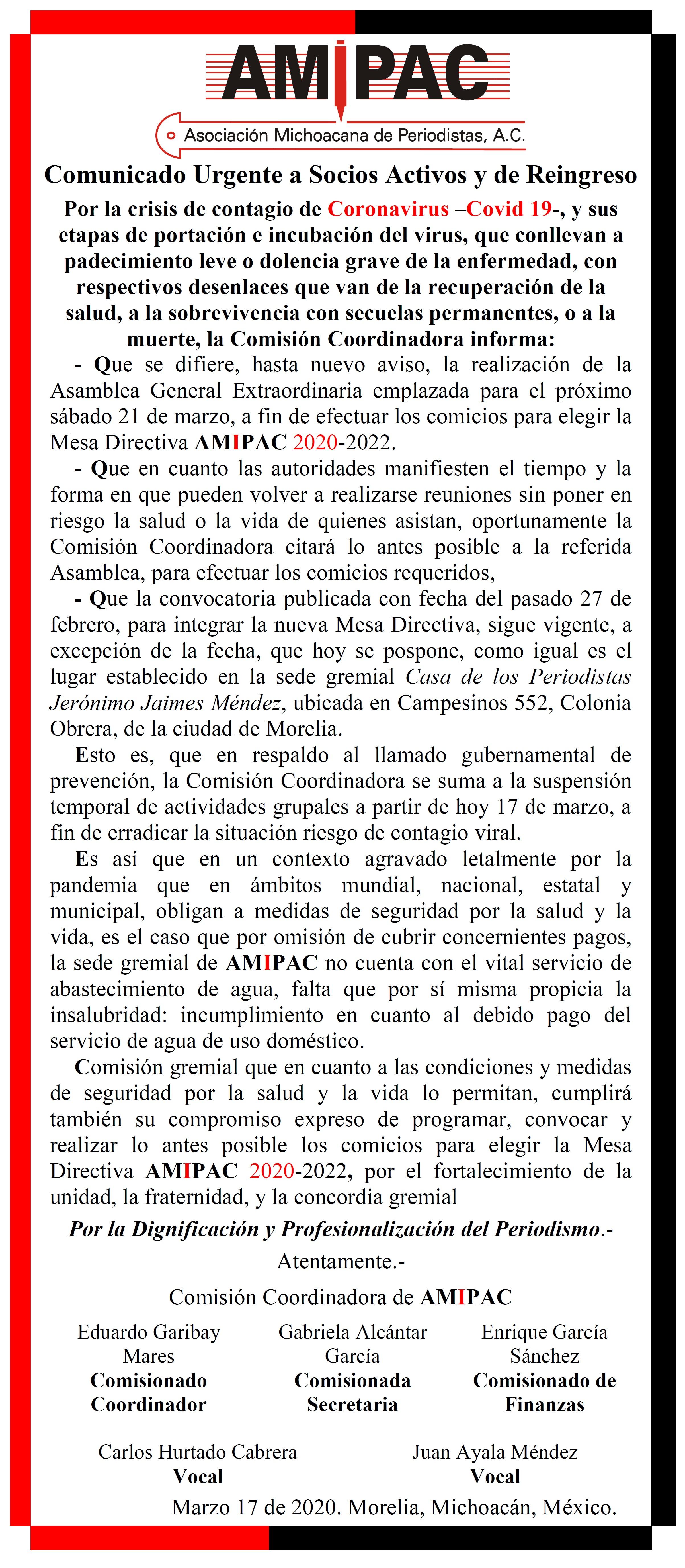 Comunicado Urgente a Socios Activos y de Reingreso de AMIPAC. Marzo 16 de 2020